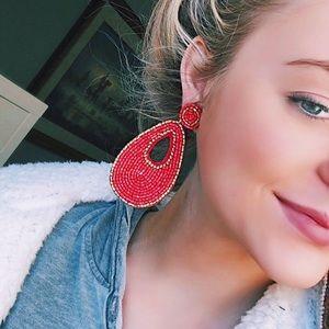 Pink drop bead earrings